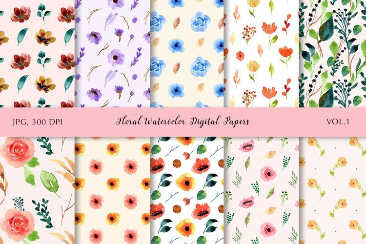 Floral Watercolor Digital Papers Vol.1