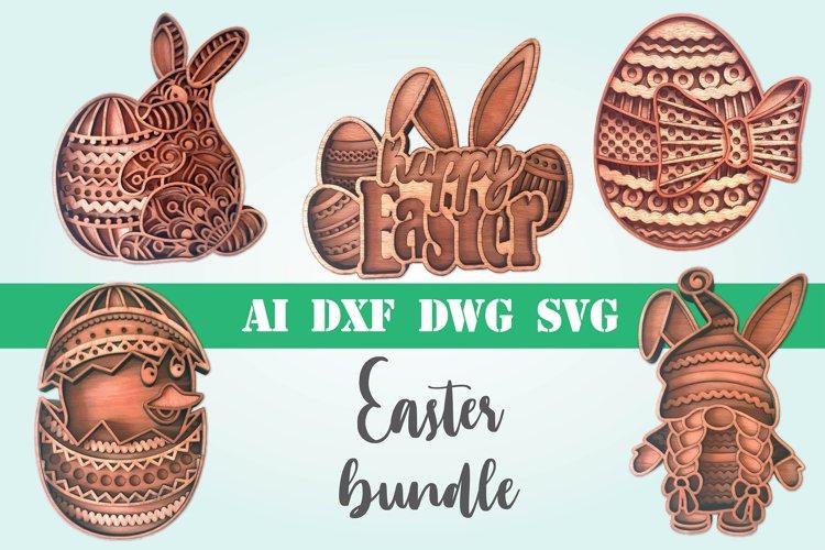 Layered Easter bundle 3d svg dxf Multi layer mandala easter example image 1