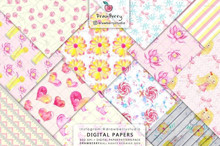 Baby Girl Digital Paper Pink Lemonade
