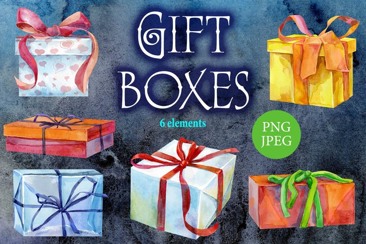Watercolor gift boxes example image 1