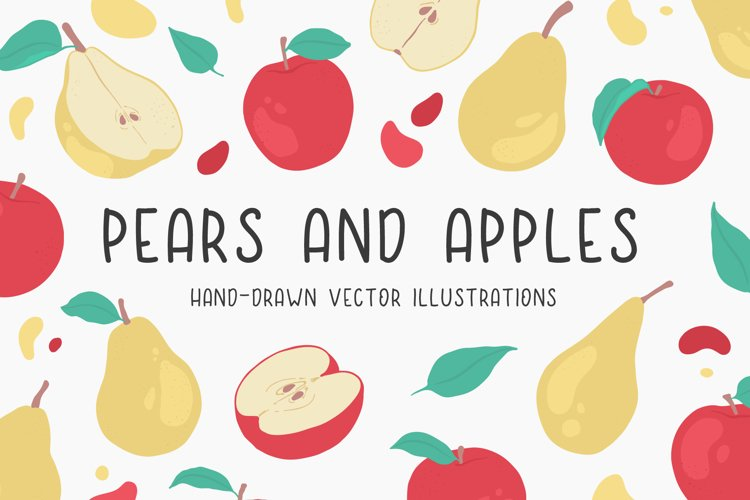 Pears and apples illustrations example image 1