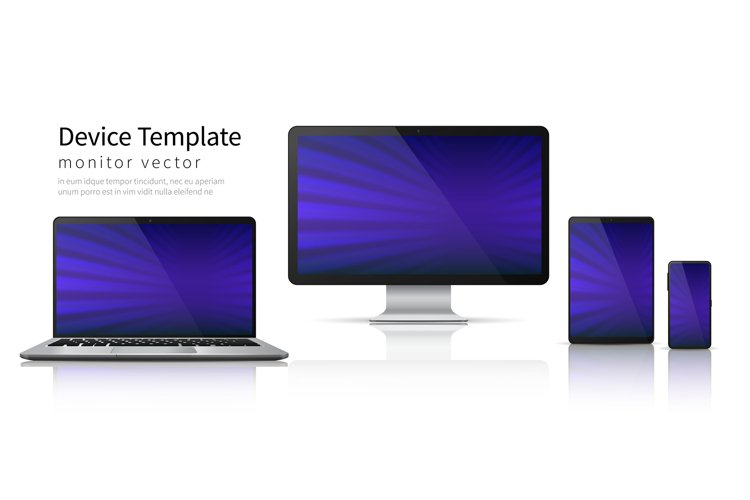 Realistic devices. Computer laptop tablet phone mockup, smar example image 1