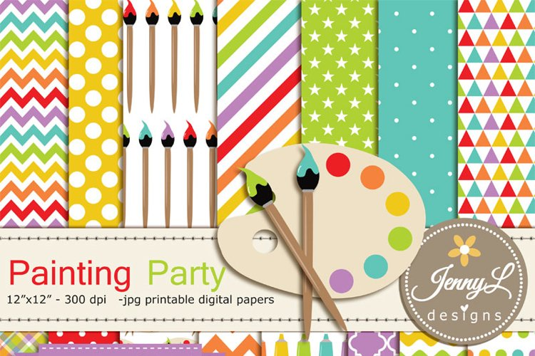 Painting, Art, Digital Paper and Clipart, Easel, paint tube, brush, palette Clipart ART  example image 1