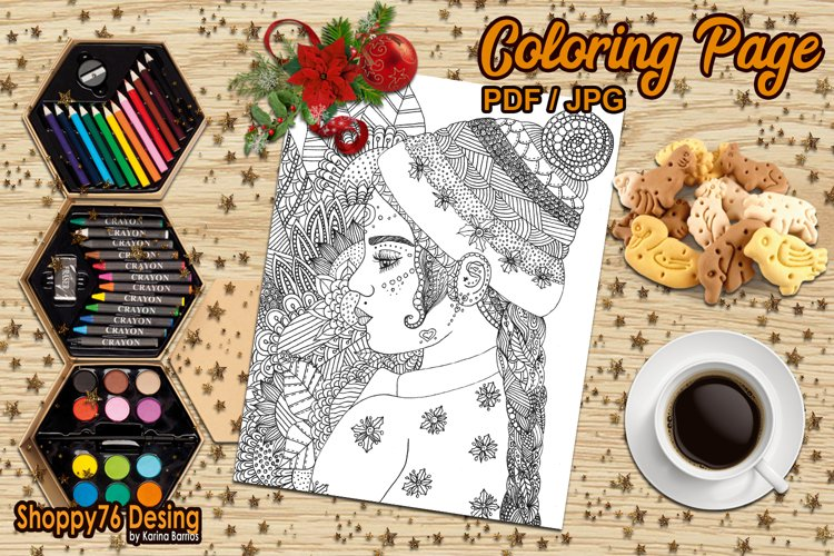 Christmas girl / coloring page example image 1
