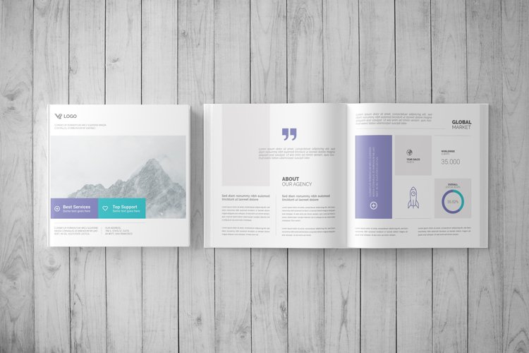 Square Book Mock-Up / Hardcover example image 1