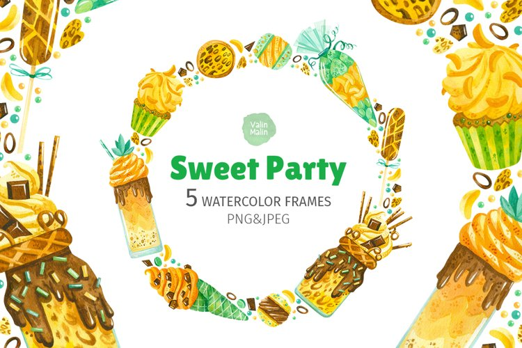 Sweet Party. 5 watercolor frames example image 1