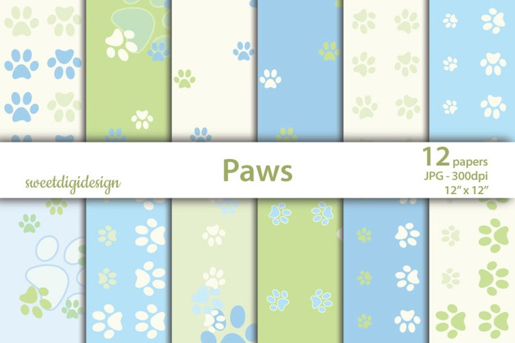 Pastel green and blue seamless paws backgrounds example image 1
