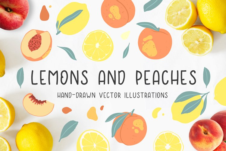 Lemons and peaches illustrations example image 1