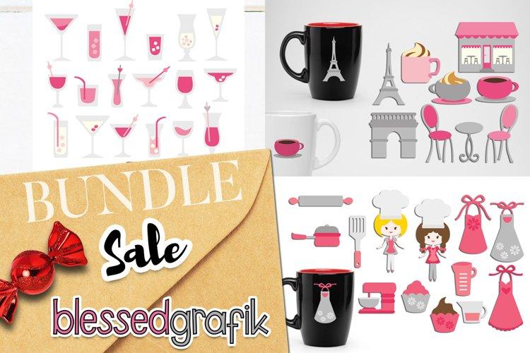 Paris cafe illustrations bundle - pink grey