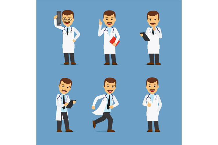 Doctor character with x-ray and stethoscope example image 1
