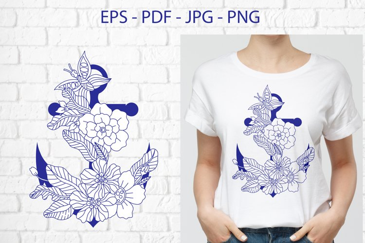 Anchor with doodle flowers example image 1