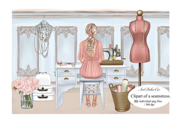 Customizable Seamstress Clipart, Craft Clipart.
