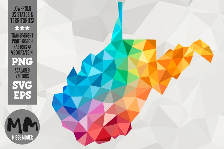 West Virginia state low-poly rainbow for sublimation & print