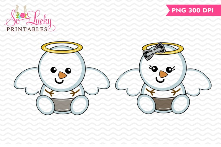Snowman Angels baby set printable sublimation design example image 1
