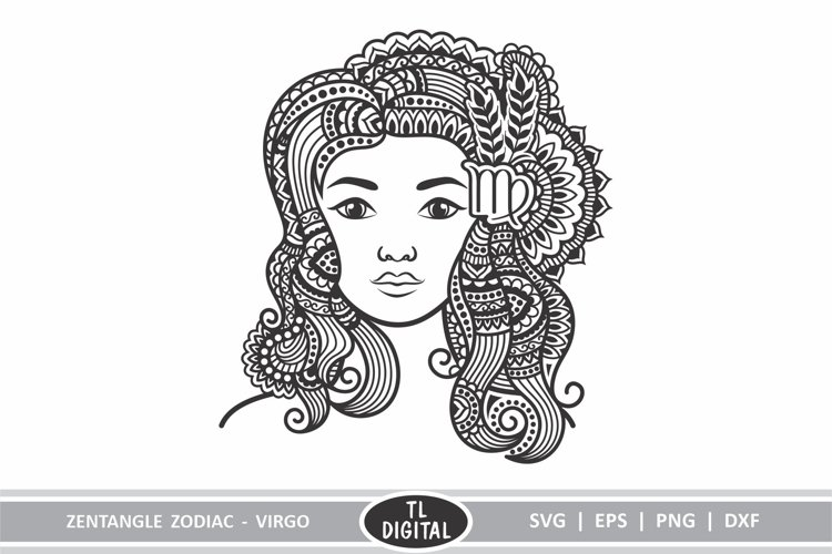 Zodiac Zentangle - Virgo / Maiden - SVG | EPS | PNG | DXF example image 1
