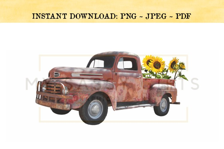 Fall Sunflowers With Vintage Old Red Truck PNG example image 1
