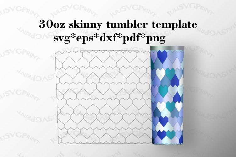 Hearts 30 oz skinny tumbler template, Tangram pattern svg