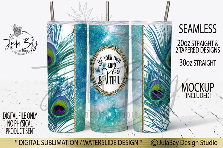 20oz Skinny Tumbler Sublimation PNG Peacock Feathers Inspire example image 1