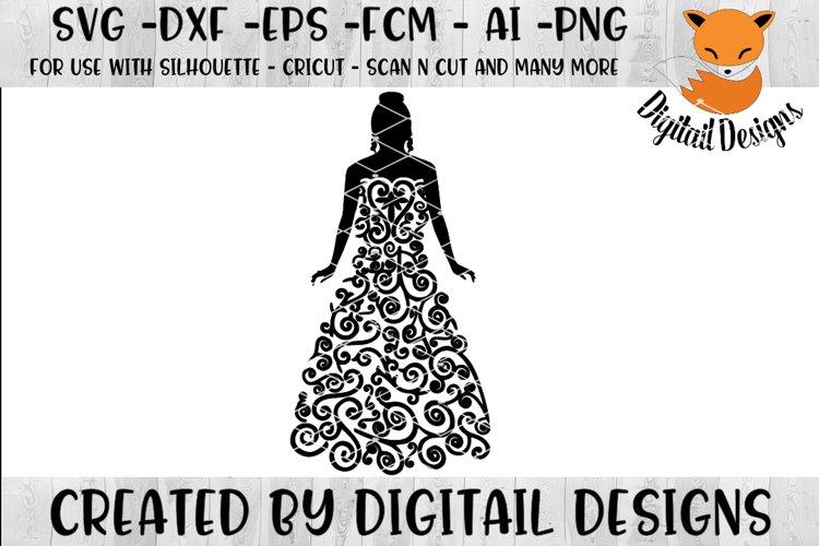 Scroll Wedding Dress SVG