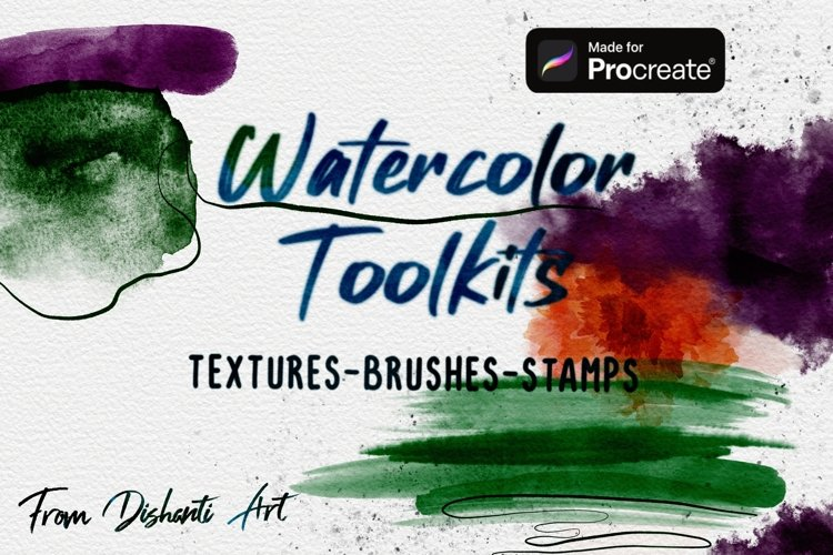 Watercolor Tools for Procreate. Watercolor Textures for draw