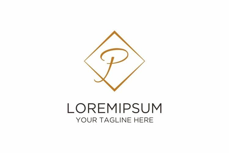 Initial P Letter Rhomb Handwriting Logo example image 1
