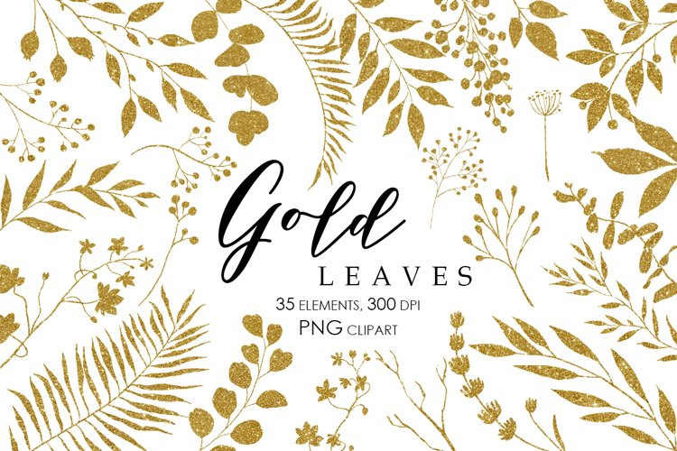Gold Glitter Leaves Clipart, Gold Glitter design elements
