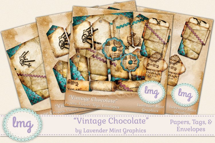 Vintage Chocolate Junk Journaling Kit-Shabby Chic, Textured