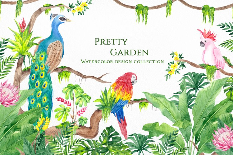 Pretty Garden. Watercolor collection example image 1