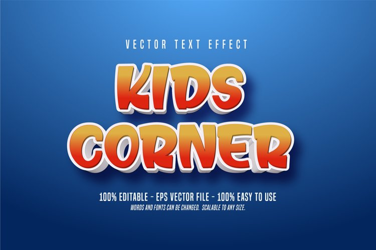 Kids corner text, cartoon style editable text effect