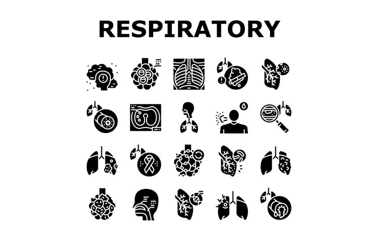 Respiratory Disease Collection Icons Set Vector example image 1