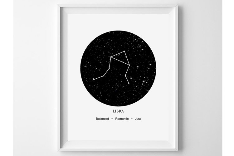 Libra Zodiac Print, Astrology Wall Art