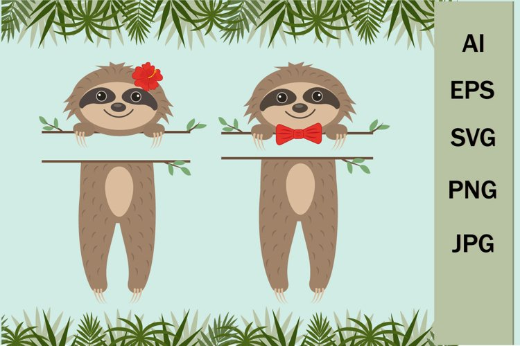 Cute sloths with a text separator