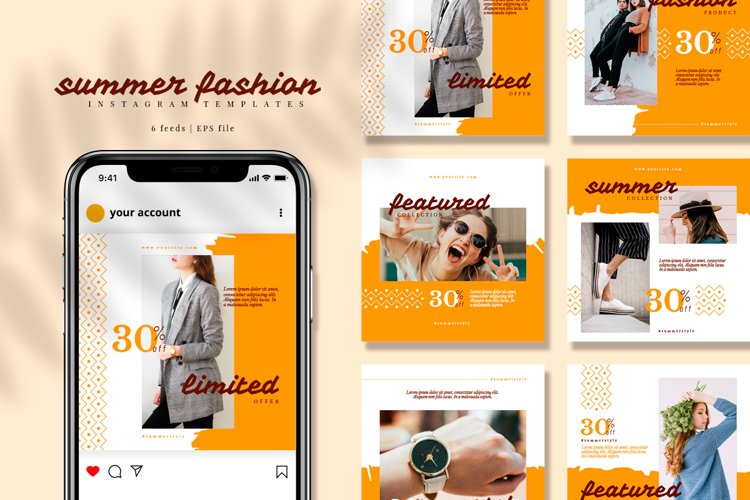 Yellow Fashion Instagram feed template pack example image 1