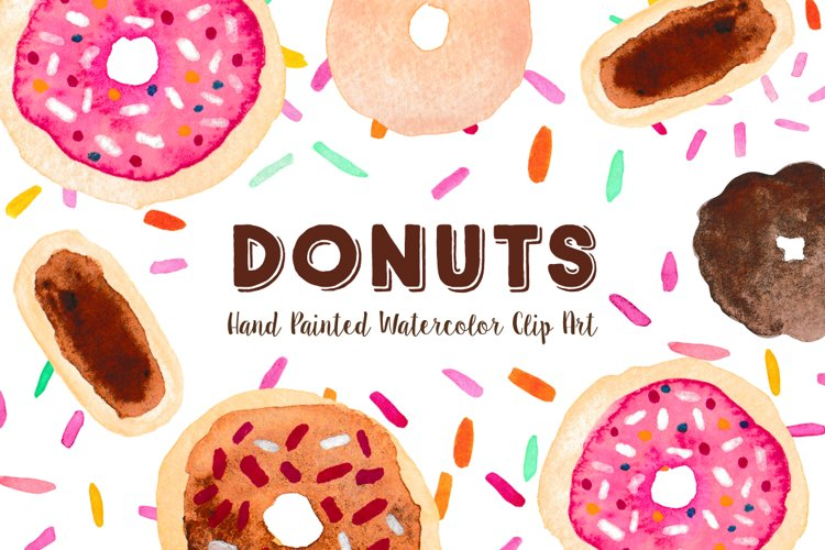 Doughnuts and Sprinkles Watercolor Clipart