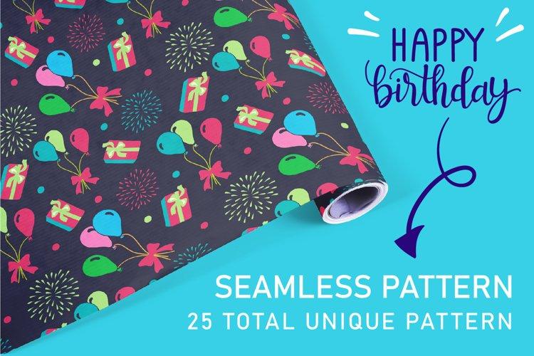 Happy Birthday seamless patterns set.