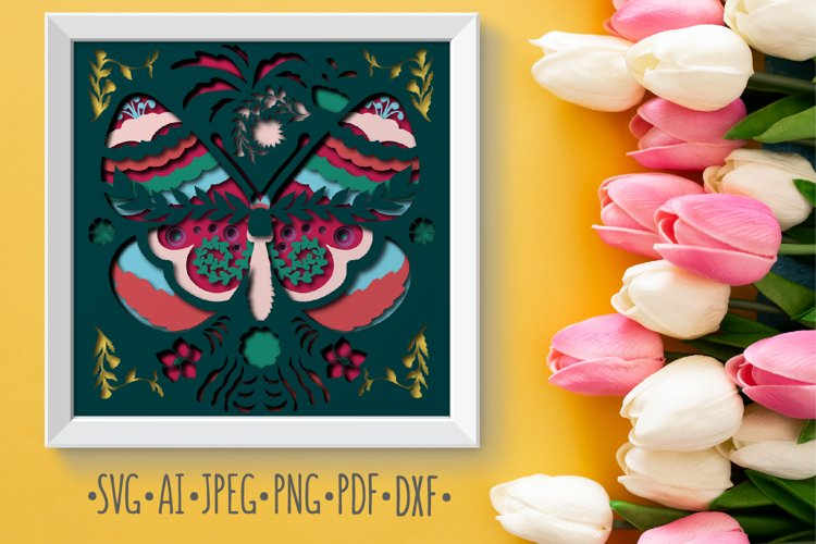 Papercut 3D Butterfly Flowers Layered Design example image 1