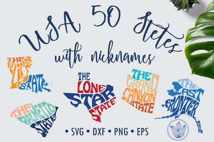 Bundle 50 states nickname svg cut files, lettering
