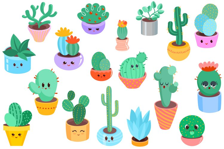 Cute Cacti Clipart - 18 vector items example 1