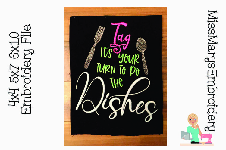 Tag it's your Turn to do the Dishes Embroidery example image 1