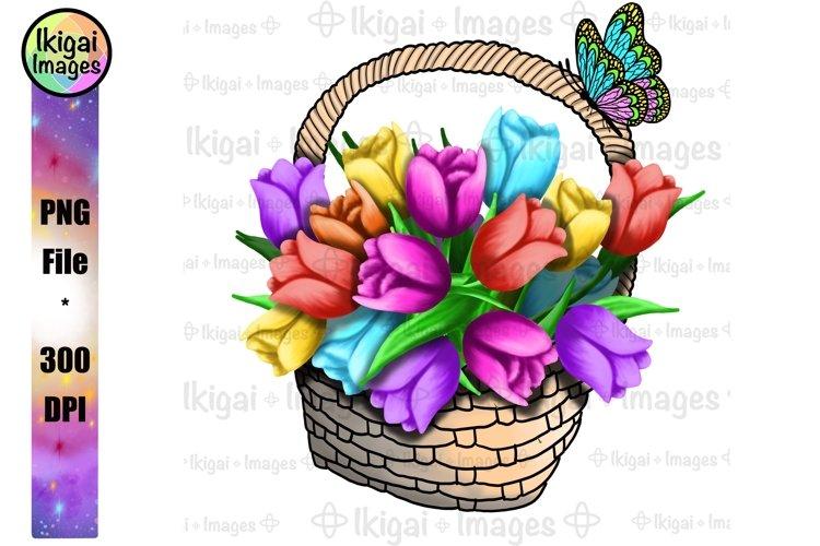 Tulips Spring Flower Basket Design Printable Sublimation PNG
