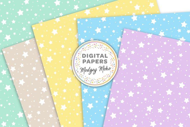 Pastel Stars Digital Printable Papers example 2