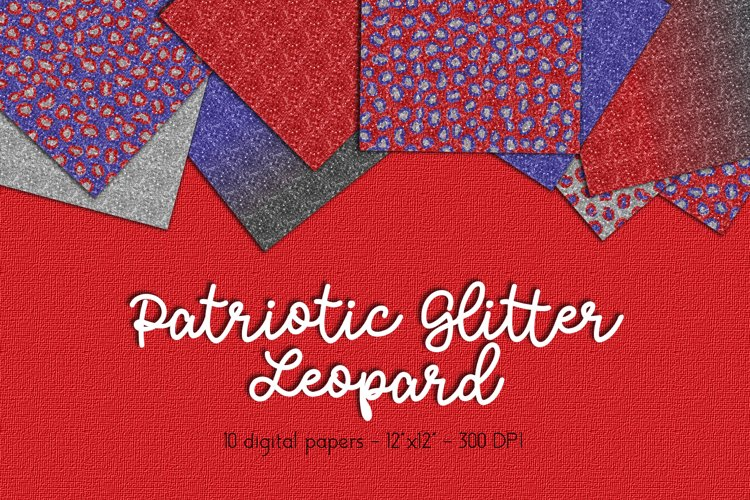 Glitter Leopard Digital Paper Set example image 1