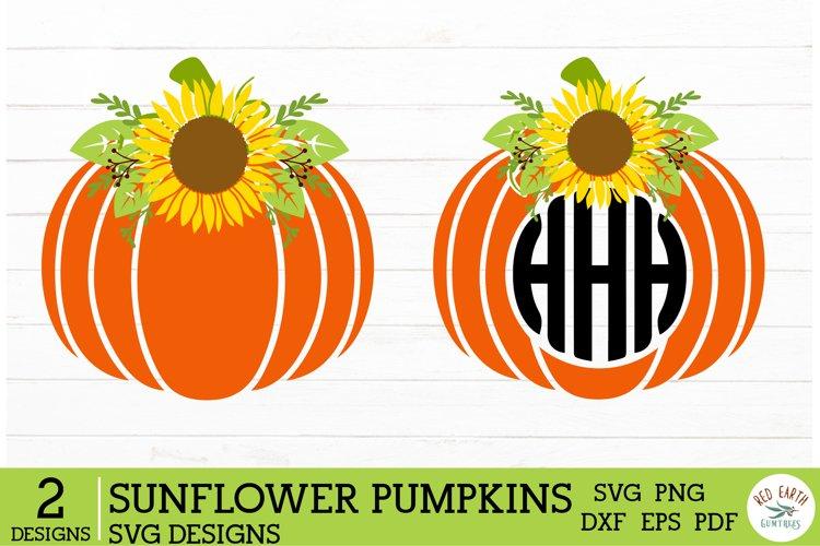 2 Halloween Sunflower pumpkins SVG,monogram pumpkins svg example image 1