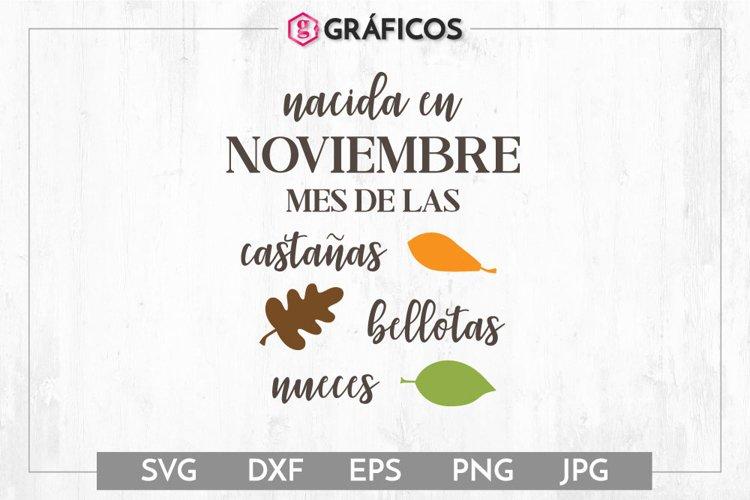 Nacida en Noviembre SVG - Otoño SVG - Hojas árbol example image 1