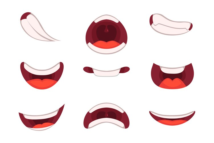 Different emotions of cartoon mouths with funny expressions example image 1