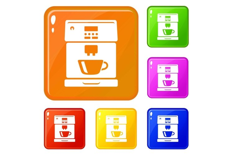 Coffee machine icons set vector color example image 1
