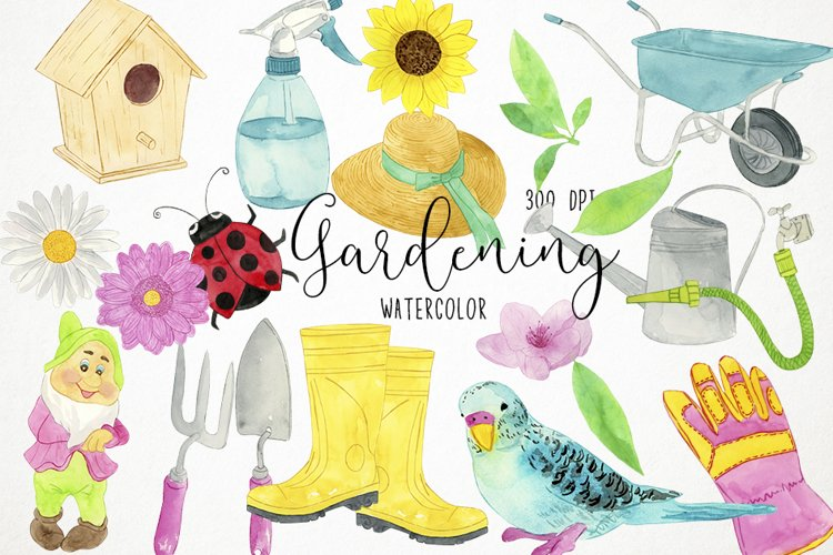 Watercolor Gardening Clipart, Gardening Clip Art, Spring example image 1
