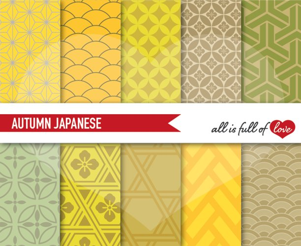 Japanese Backgrounds Golden Yellow Digital Graphics example image 1