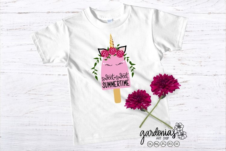 Unicorn Popsicle SVG | Unicorn with Horn and Flower Headband