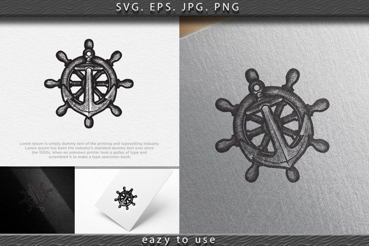 hand dawn Anchor vector logo icon Nautical maritime sea ocea